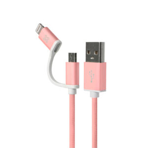 Cable 2 en 1 Klip Xtreme KAC-210RG con conector Lightning, Rose Gold