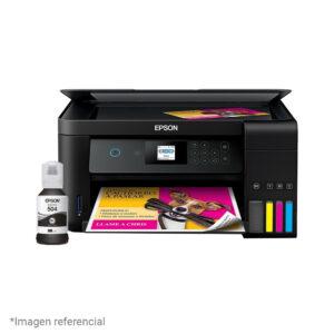 Impresora Multifuncional de Tinta Epson Ecotank L4160, Imprime, Escanea, Copia, Wi-Fi + Tinta T504